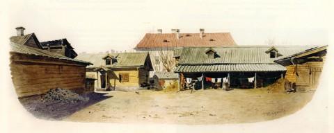 Баганц Ф. Ф., Левая часть двора в доме Матушки. 1860-1862 годы.