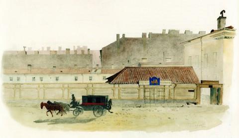 Баганц Ф. Ф., Бассейная улица, напротив дома Доссе. 1858-1860 годы.