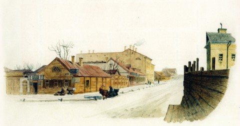 Баганц Ф. Ф., Бассейная улица. Конец к Конной площади. 1862 год.