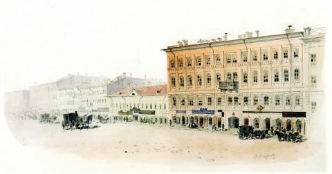 Баганц Ф. Ф., Невский проспект. Дом Логинова. 1855 год.