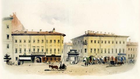 Баганц Ф. Ф., Невский проспект напротив дома Логинова. 1855 год.