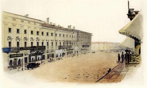 Баганц Ф. Ф., Михайловская улица. Дом графа Строганова (ныне князя Мещерского). 1856-1857 годы.