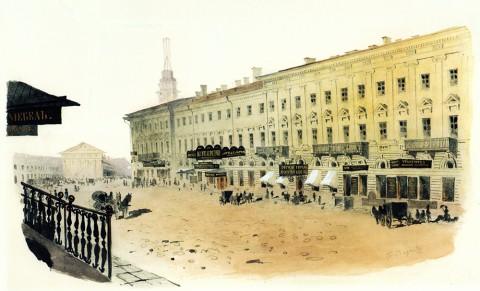 Баганц Ф. Ф., Михайловская улица напротив дома Строганова. 1856-1857 годы.