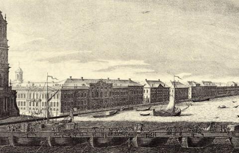 Махаев М. И., Фрагмент гравюры Махаева. Английская набережная. 1749-1750.