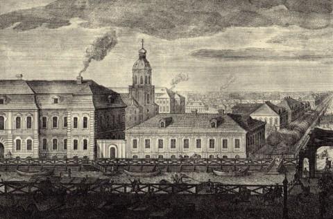Махаев М. И., Фрагмент гравюры Махаева. Голландская церковь. 1748-1749.
