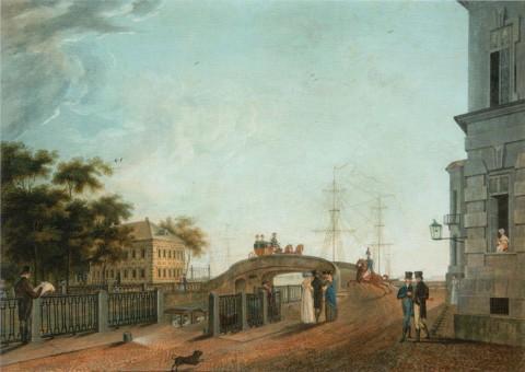 Неизвестный художник, Набережная Фонтанки у Прачечного моста. 1800-е.