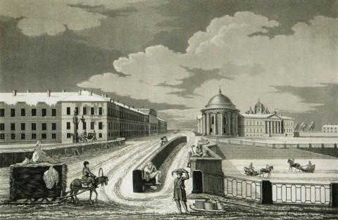 Дюбург М., Вид на Фонтанку и казармы Измайловского полка. 1812.