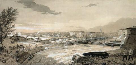Бролинг Г., Вид на старый Троицкий мост от Петропавловской крепости. 1890.