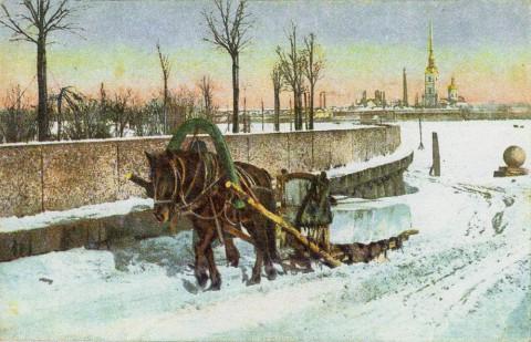 Стрелка Васильевского острова. Заготовка льда.