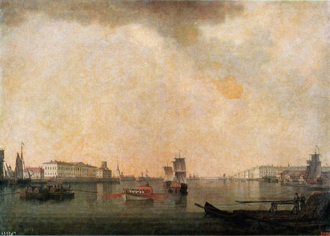 Патерсен Б., Вид с Исаакиевского моста вверх по течению Невы. 1799 г..
