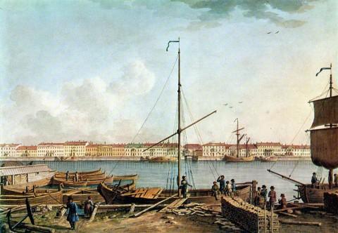 Патерсен Б., Английская набережная с Васильевского острова (часть II). 1799 г..