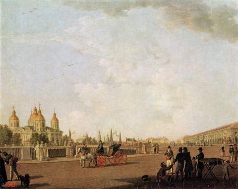 Патерсен Б., Садовая улица у Никольского собора и рынка. около 1800 г..