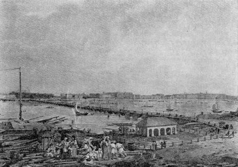 Вид Набережной Невы от домика Петра I. 1800-е.
