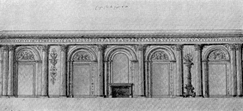 Проект Овальной столовой в Зимнем дворце. 1800-е.