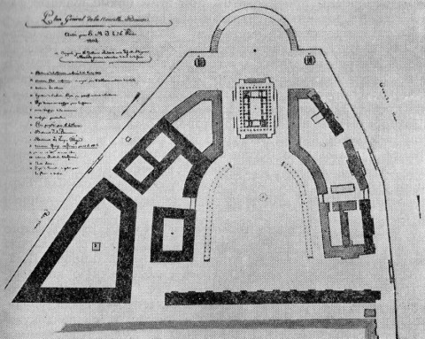 Проект планировки Стрелки Васильевского острова. около 1804.