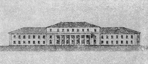 Захаров А. Д., Проект перестройки адмиралтейских казарм. Фасад западного корпуса.