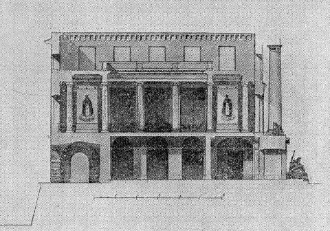 Монферран О., Проект устройства новой церкви в здании Адмиралтейства. Поперечный разрез.