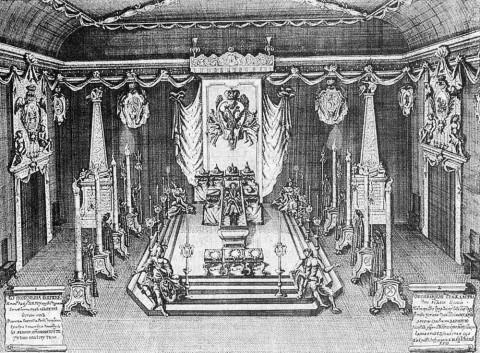 Ростовцев А., Вид погребальной залы Петра I. 1725.