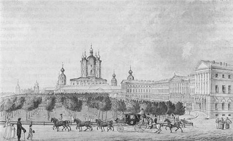 Иванов И. А., Вид на Смольный собор и Институт благородных девиц в Петербурге. 1815.