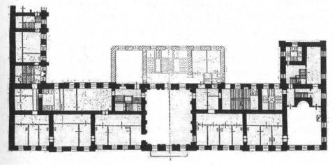 План второго этажа передней части особняка кн. Н. П. Голицыной - дома военного министра.