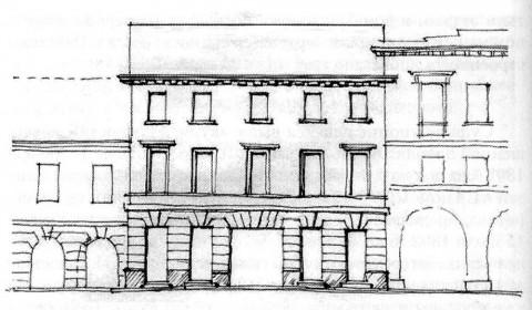 Проект дома Н. А. Чекалова. Фасад. 1823.