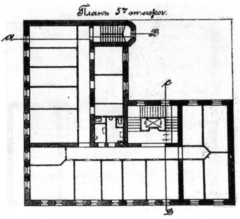 Лидваль Ф. И., Проект дома М. А. Александрова. План пятого этажа. 1902.