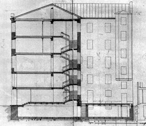 Лидваль Ф. И., Проект дома М. А. Александрова. Разрез. 1902.