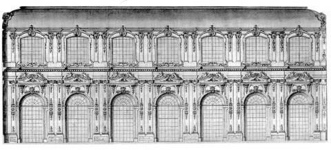 Растрелли Ф. Б., Продольный разрез  Тронного зала в Зимнем доме Анны Иоанновны. 1734.
