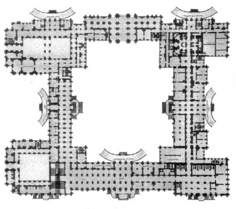 Растрелли Ф. Б., План первого этажа Зимнего дворца. нач. 1760-х.