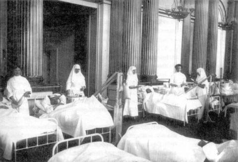 Палата в лазарете имени наследника цесаревича Алексея Николаевича. 1915.