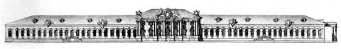 Растрелли Ф. Б., Фасад деревянного Зимнего дворца со стороны Невского проспекта. 1756.