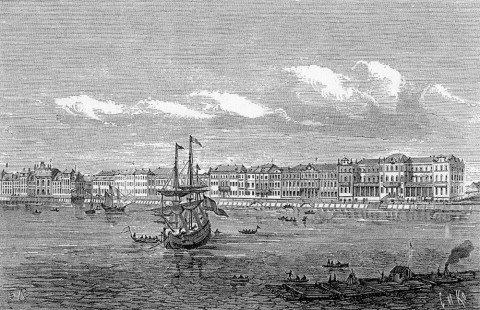 Марселиус Х., Набережная р. Невы от Зимнего дворца до дома графа Апраксина. 1729 г..