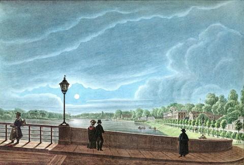 Неизвестный художник, Вид на Каменный остров с Каменноостровского моста. 1830 г..