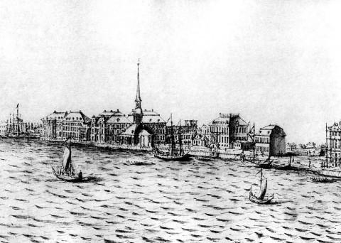Марселиус Х., Вид набережной Васильевского острова с Воскресенской церковью. 1725.