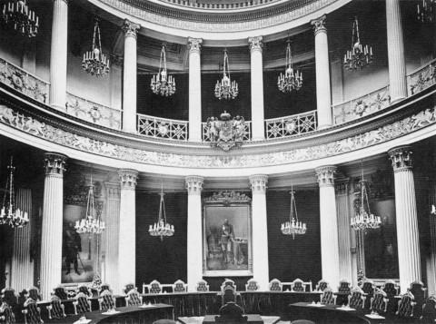 Зал общих собраний Государственного Совета в Мариинском дворце. 1900-е гг..