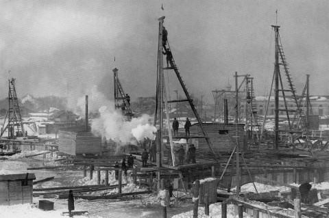 Фотоателье Буллы, Строительство постоянного Троицкого моста через Неву. до 1903 г..