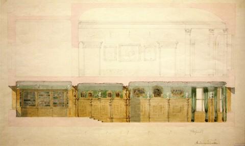 Боссе Г. Э., Проект отделки Кабинета, Библиотеки и Зала в доме В. П. Давыдова.