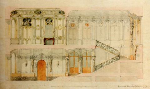 Боссе Г. Э., Проект отделки Вестибюля, Парадной лестницы и Приёмной. 1848.