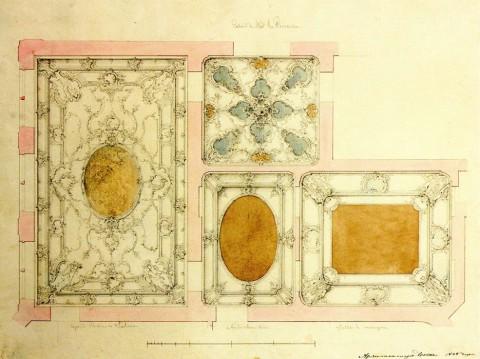 Боссе Г. Э., Проект плафонов Большого салона, Кабинета, Передней и Столовой. 1848.