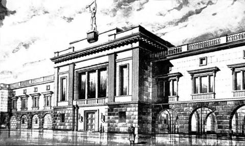 Эскиз фасада здания ЛИИКС. 1940.