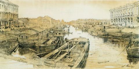 Премацци Л. О., Фонтанка у Чернышёва моста. 1840-1850-е гг..