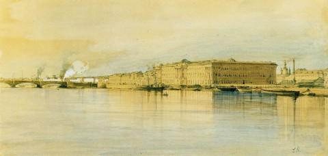 Премацци Л. О., Вид Невы у Академии художеств. 1850.
