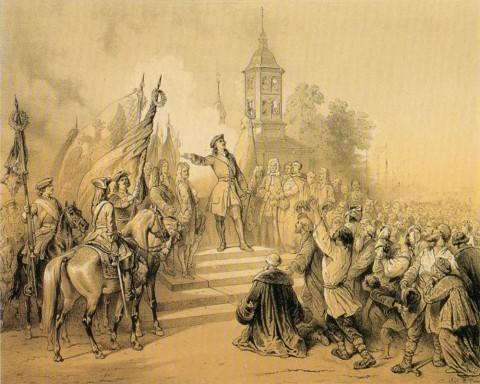 Тимм В. Ф., Пётр Великий возвещает в Санкт-Петербурге народу о заключении мира со Швецией. 1860.
