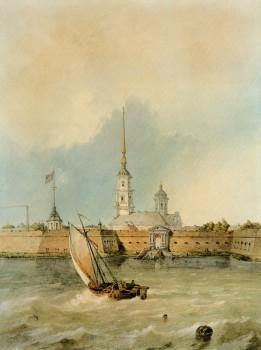 Неизвестный художник, Вид на Петропавловский собор со стороны Невы. 1845.