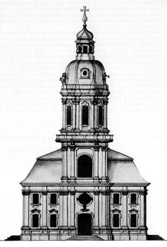 Фасад вновь построенной евангелической общиной церкви св. Петра. 1740-е.