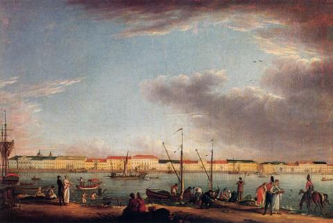 Майр И. Г., Вид на Английскую набережную с Васильевского острова. 1803 год.