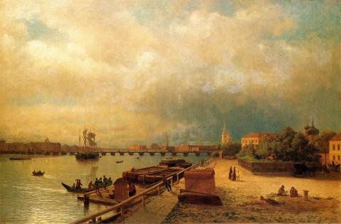 Лагорио Л. Ф., Вид на Неву и Петровскую набережную с домиком Петра I. 1859 год.