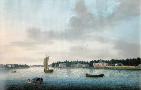 Барт И. В., Вид набережной Малой Невки на Каменном острове под Санкт-Петербургом. 1810-е годы.