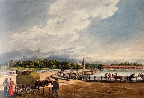 Кольман К. И., Вид на Строгановский мост и церковь Иоанна Предтечи. 1830-е годы.
