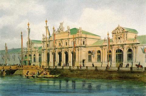 Бенуа Л. Н., Фасад здания Мануфактурной выставки 1870 года в Петербурге. 1880 год.